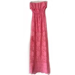 DAINTY HOOLIGAN MAXI DRESS CORAL STRAPLESS LACE